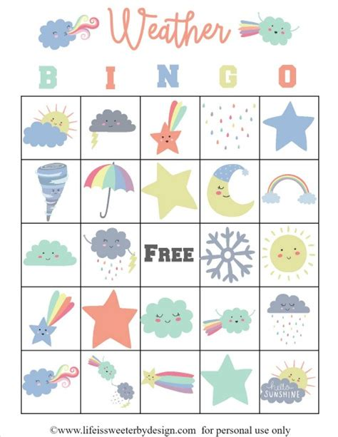 printable board game weather weather bingo free printable cards life is sweeter by design