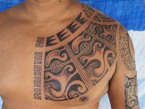 polynesian chest tattoo tiki images designs