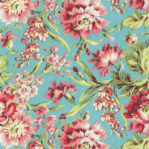 flower design on cloth coral and teal floral fabric by the yard carousel