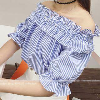 Striped Frilled Trim Blouse shoulder frilled trim striped top asian fashion