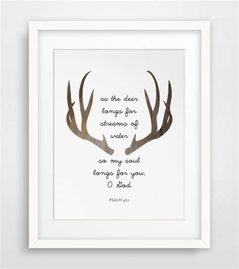 brown deer bible verses psalm 42 antler print scripture