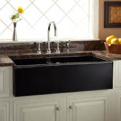 Kitchen Faucet For Farmhouse Sinks 36 Quot Risinger 60 40 Offset Bowl Fireclay Farmhouse Sink Smooth Apron Black Kitchen