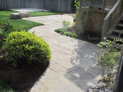 flagstone backyard patio manor landscaping