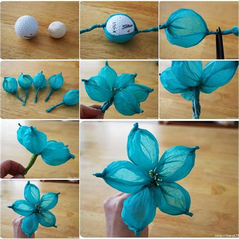 Things You Can Make With Tissue Paper - diy beautiful tissue paper flower using a golf