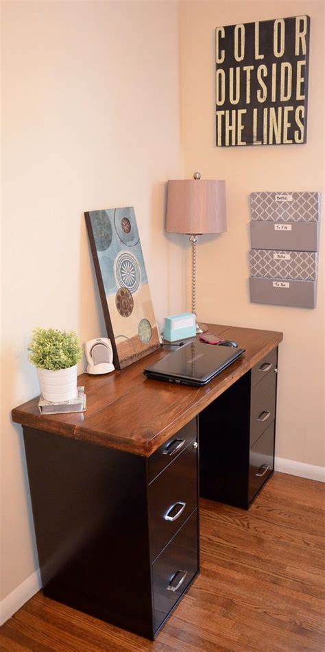 build a desk using file cabinets woodworking projects