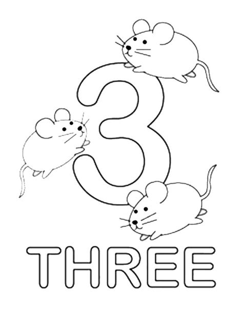 Coloring Page Number 3 by Number Three Learning To Write Simple Handwriting Number