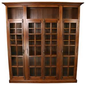 Antique Bookcases With Glass Doors New Oak Bookcase Four Glass Doors Consigned Antique Traditional Bookcases By Euroluxhome