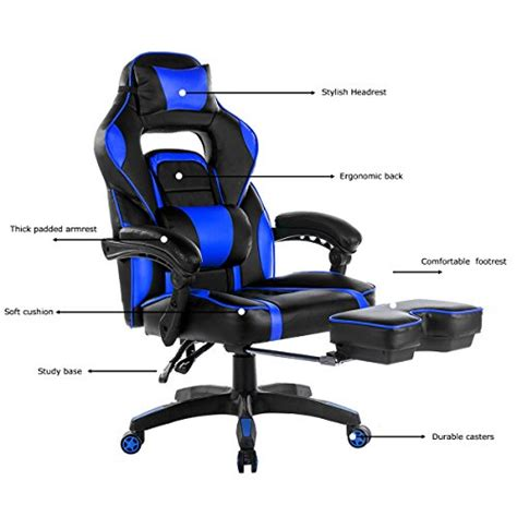 gaming chair with footrest merax high back racing home office chair ergonomic gaming