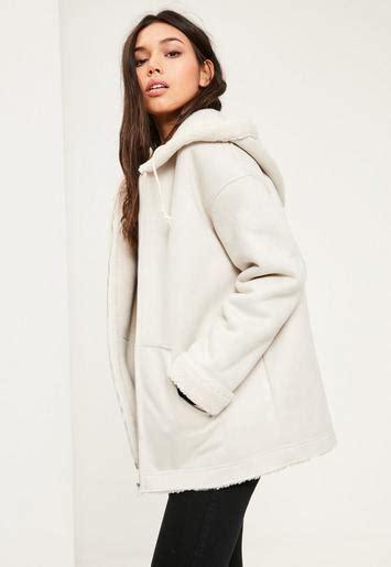 Jaket Salur Grey White white zip through faux shearling jacket missguided
