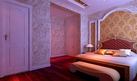 background bedroom bedroom wallpaper night rendering neoclassical style 3d