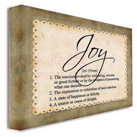 define decor framed canvas print joy noun definition inspirational