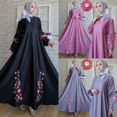 Gamis Baloteli Embos Polos by Gamis Bordir C037 Baloteli Embos Baju Muslim Modern