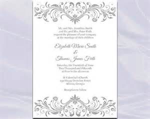silver wedding invitation templates popular items for silver invite on etsy