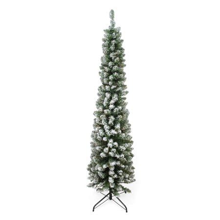walmart pencil christmas trees artificial 6 x 20 quot flocked traditional green pine pencil artificial tree unlit walmart