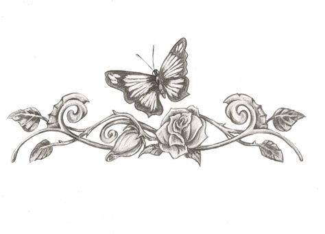 butterfly eith rose tattoo design by saramira on deviantart
