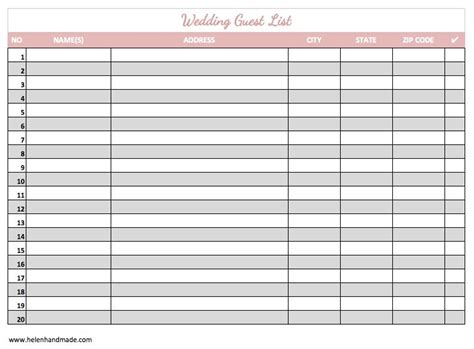 wedding guest list spreadsheet template beautiful free printable wedding guest list spreadsheet