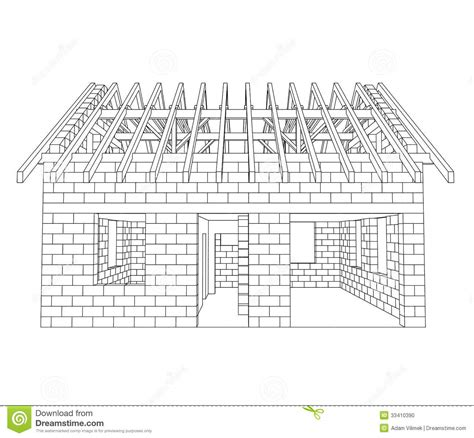 How To Draw A House Floor Plan Front House Construction Line Drawing Stock Photo Image
