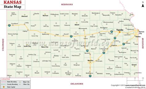 kansas state map map of the state of kansas my