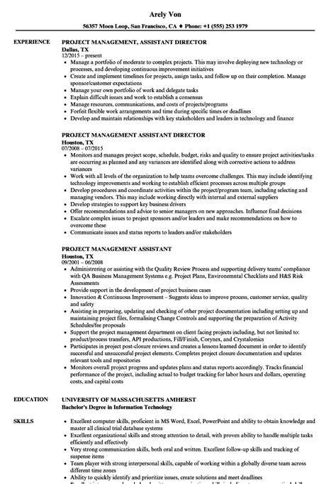 project management assistant resume sles velvet