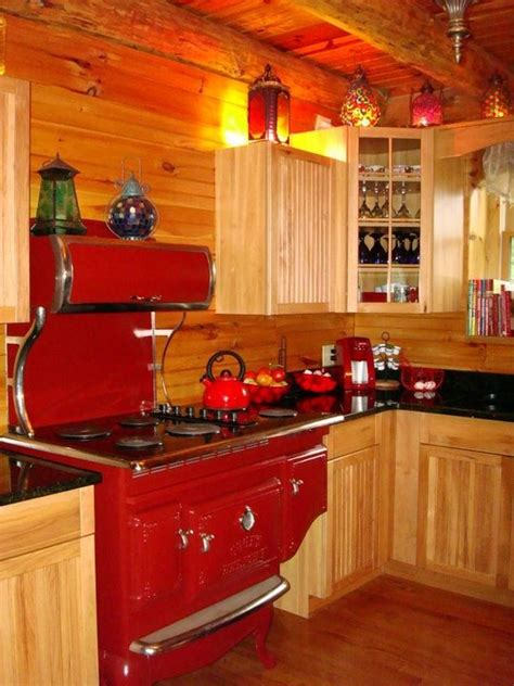 rustic kitchen love the blue retro appliances with the for my fanstasy rustic cabin in the mountain somewhere