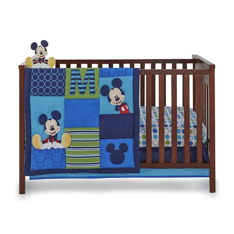 Mickey Mouse Crib Bedding Set For Baby Disney Infant Boy S 4 Mickey Mouse Crib Bedding Set Shop Your Way Shopping