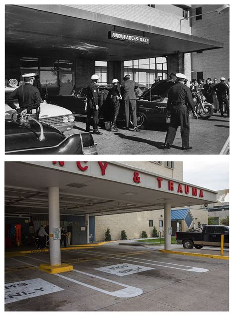 southton hospital emergency room adrees latif reshoots present day photos of the iconic of jfk s assassination