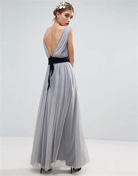 Ribbon Maxi 4 asos wedding mesh maxi dress with navy ribbon strapping