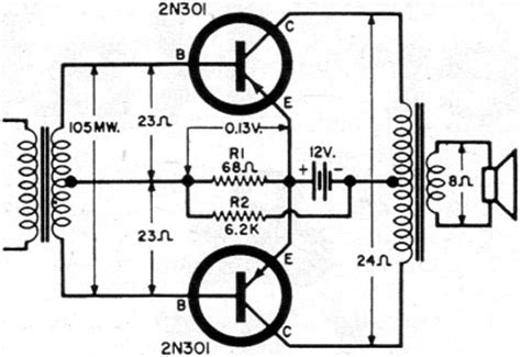 transistor lifier with output transformer push pull class b transistor power output circuits november 1960 electronics world rf cafe