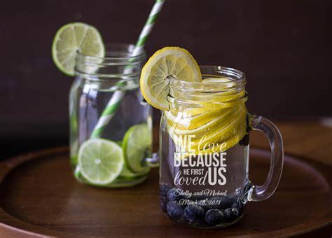 wedding favors in jars personalized engraved jar mug wedding favor 16 oz