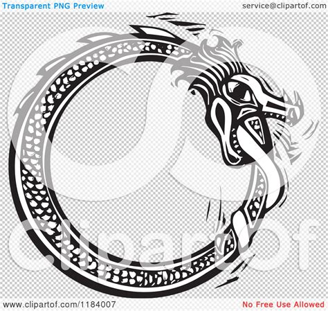 clipart of a midgard serpent biting his tail black and