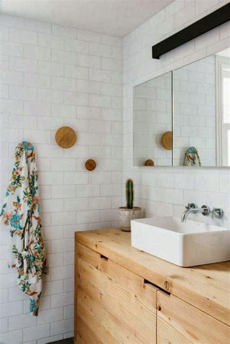 Modern Bathroom With Wood Tile Muuto Dots Subway Tiles Wooden Vanity Ideas For