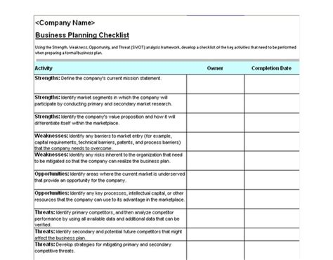 Business Plan Schedule Template business plan checklist business plan checklist template