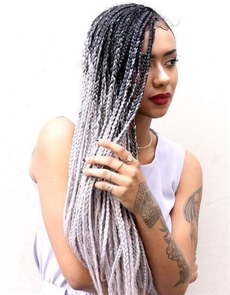how many bags of hair for box braids 24inch ombre black to grey hair extensions jumbo box