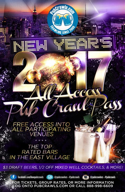 new years tickets nyc nyc all access pub crawl pass new year s 2017