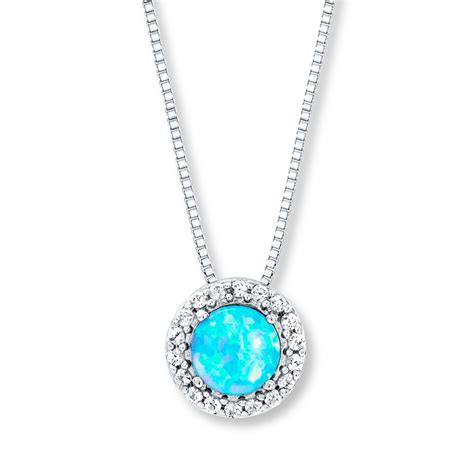 blue opal necklace lab created blue opal necklace sterling silver 375354901