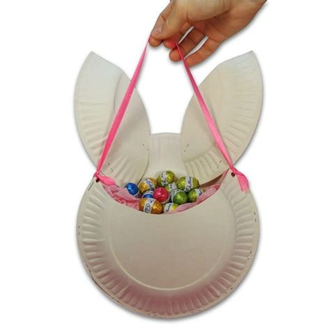 Paper Basket Craft Ideas - easter bunny basket made of paper plates easter craft