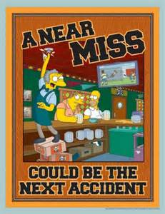 near miss accident reporting awareness poster with