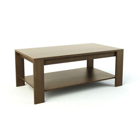 light brown wooden coffee table with botto 3d model