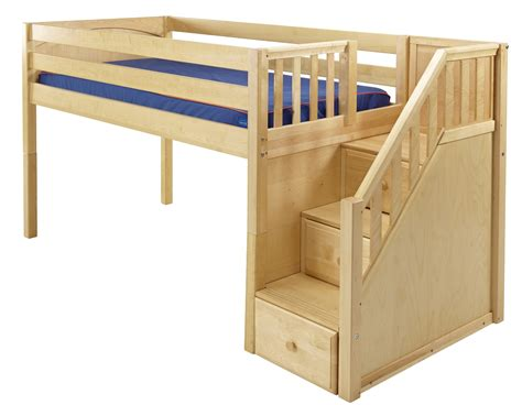 Bunk Bed With Loft Maxtrixonline Low Loft Bed With Stairs Steps