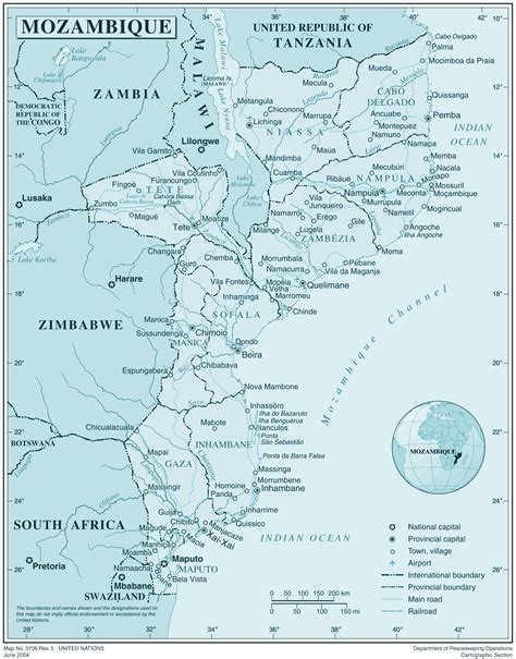 map of mozambique cities large detailed political and administrative map of
