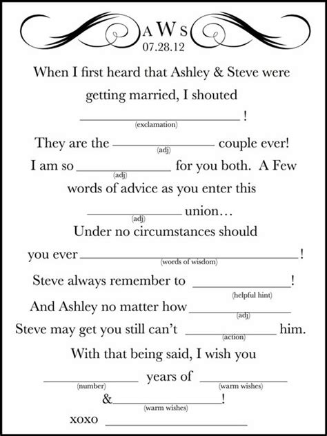 wedding mad libs template 7 best images of wedding mad libs printable