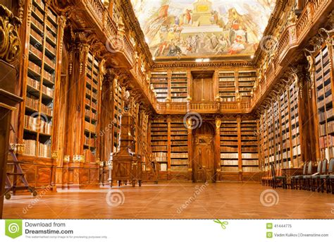 Gothic Interior Design old library in the strahov monastery editorial image