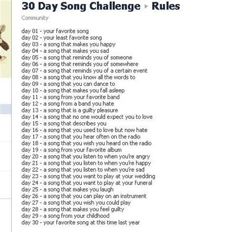 day songs let s do the 30 day song challenge for everyone who does