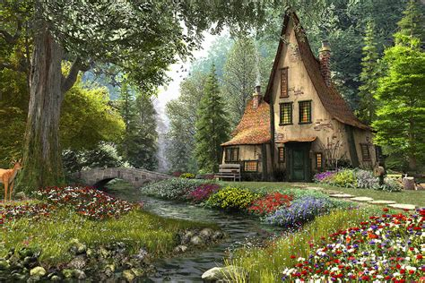 French Country Cottage House Plans by Toadstool Cottage Digital Art By Dominic Davison