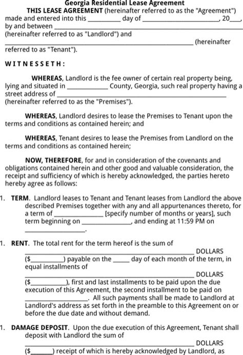 Download Georgia Rental Agreement For Free Formtemplate Free Lease Agreement Template Ga