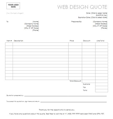 web design receipt template web design quote template website design quote template
