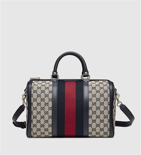 Gucci Boston Bag by Lyst Gucci Vintage Web Original Gg Canvas Boston Bag In