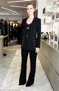 leighton meester stuns in a pearl embellished pantsuit