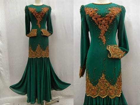 Baju Songket Hijau Zamrud butik kurung moden anisa preorder dress seri pengantin