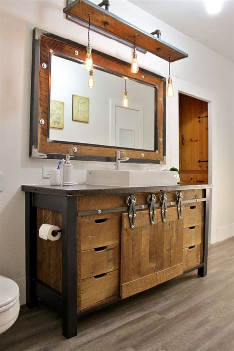 Wooden Bathroom Cabinets 32 Trendy And Chic Industrial Bathroom Vanity Ideas Digsdigs
